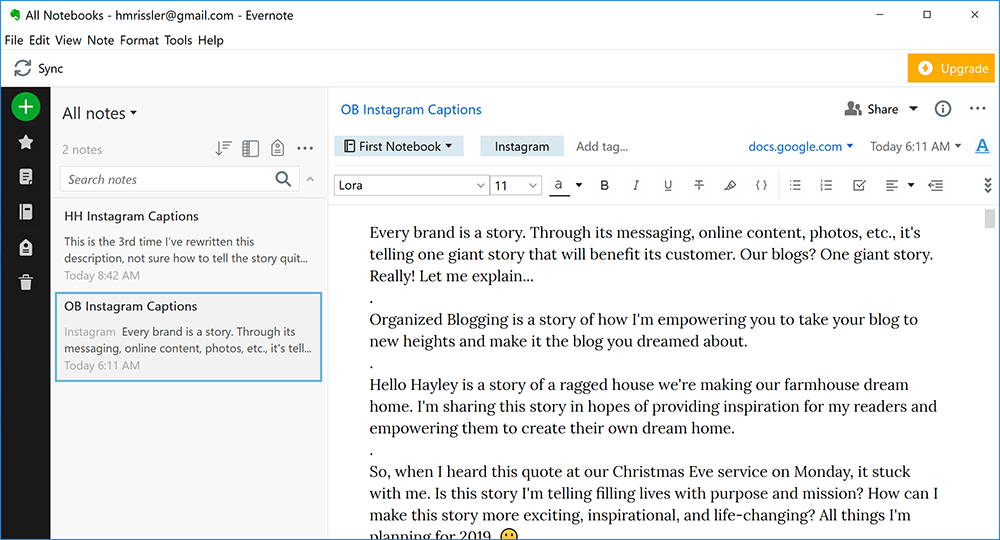 spend less time on instagram with the help of evernote