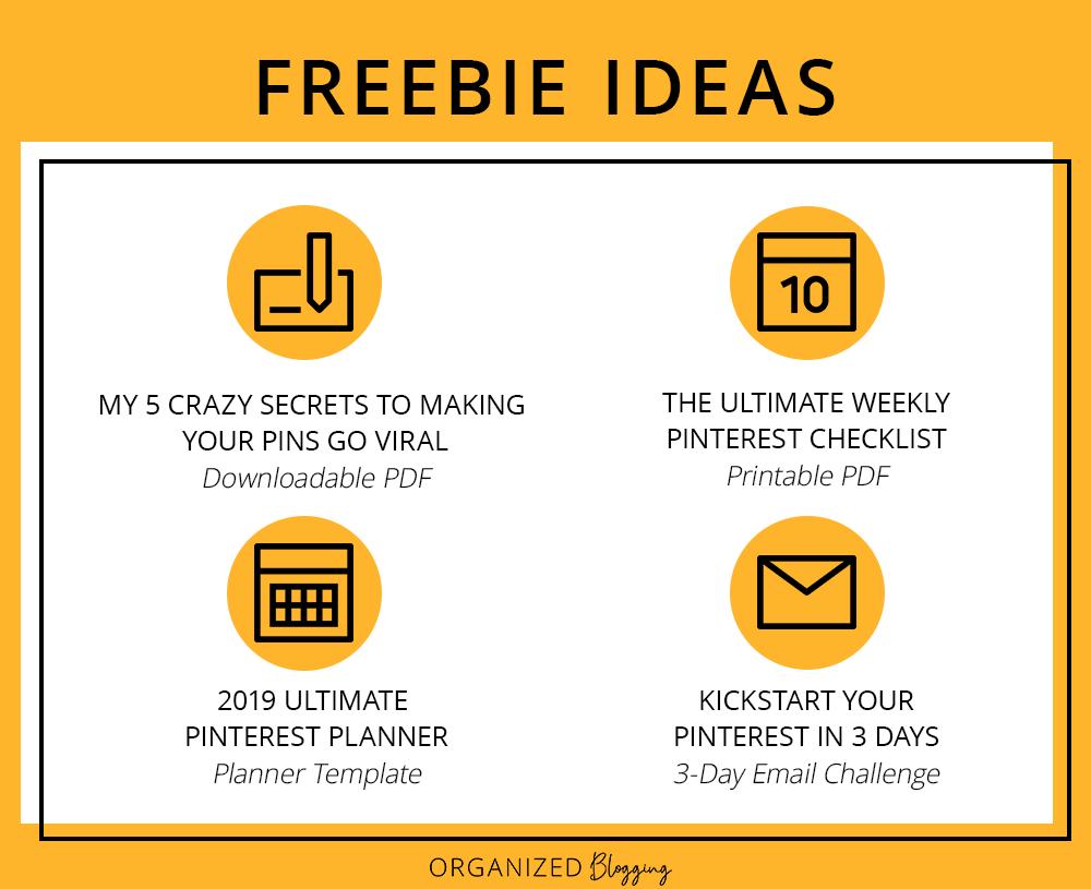 Freebie ideas when you create a freebie for you blog.
