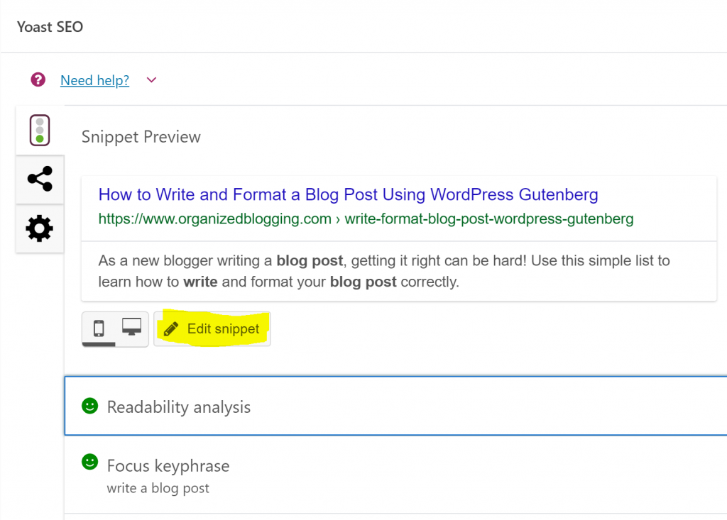 how to write a blog post with gutenberg and yoast seo